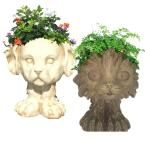 12 in. in. Muttley in. the Dog and in. Scruffy in. the Cat Muggly Animal Statue Planter (2-Pack)
