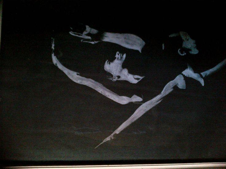 The Ballderinas.     Artist.     Hester Marryatt     White paint on black paper.