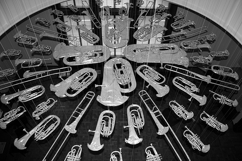 cornelia parker, breathless (installation made of flattened brass band instruments), photo: W10, via flickr