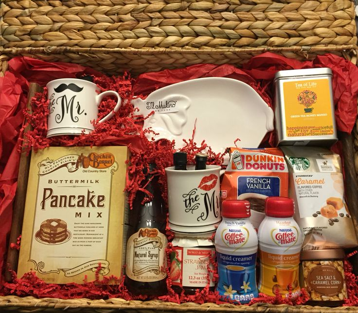 Breakfast in bed gift basket. I made this for a bridal shower gift!