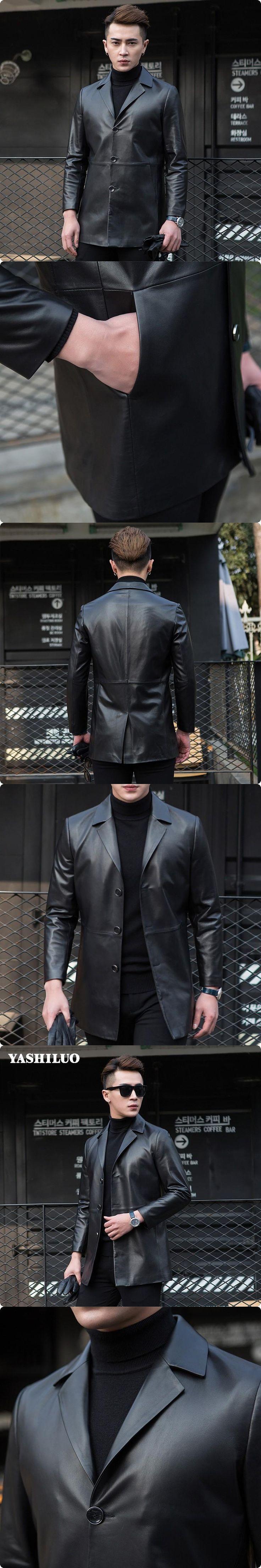 New Korean Style Slim Fit Mens Casual Sheepskin Real Leather Blazer Long Turn Down Jackets Chaqueta De Cuero Hombre Blouson Moto