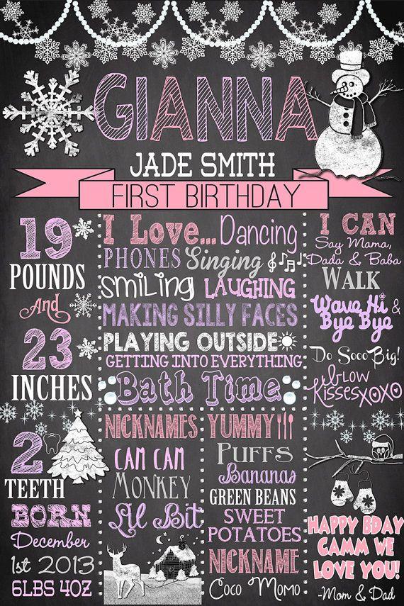 1st birthday winter onederland chalkboard by CustomPrintablesNY