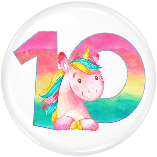 Unicorn 10 Age Birthday Party Badge #457