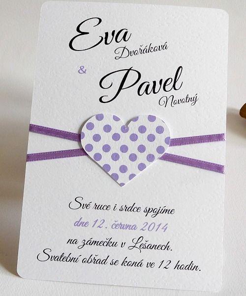 Svatební oznámení v lila barvě