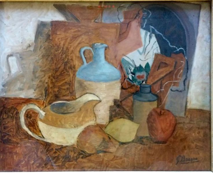 GEORGES BRAQUE OIL ON BOARD STILL LIFE V$18,750