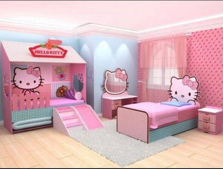 amazing pink hello kitty themes and modern decoration in kids bedroom design ideas - Decorate Kids Bedroom