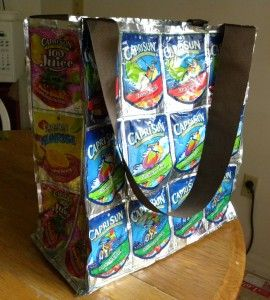 """DIY Juice Pouch Grocery Bag: 42 Empty Juice Pouches, Sewing machine & thread, 1""""-2″ wide ribbon for handles"""