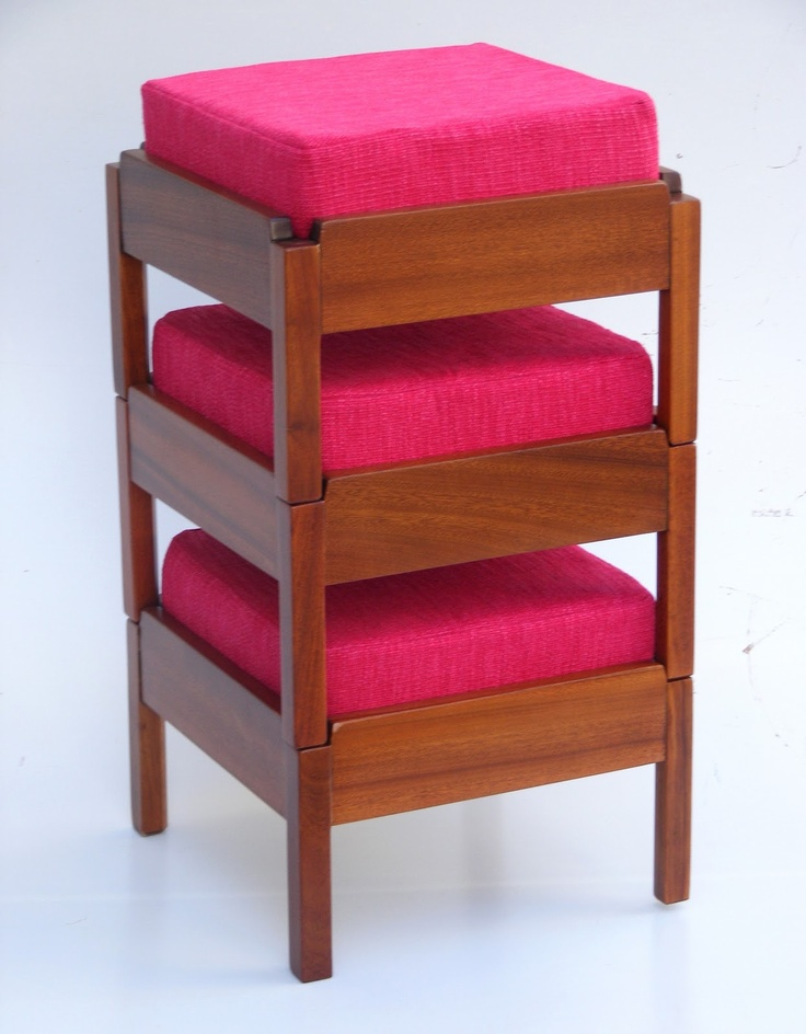Stack Of 3 Mahogany Stools Re Upholstered In A Textured Hot Pink Fabric  (Full