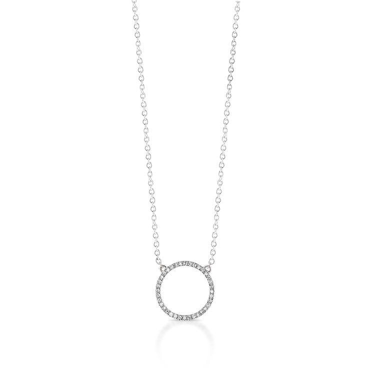 Subtelny złoty naszyjnik od W.KRUK. Minimalistyczny wzór z elementem ozdobnym w kształcie kółka, wysadzanego diamentami. Pełna wdzięku biżuteria, która przykuwa wzrok prostą formą, pasującą do każdej stylizacji. Naszyjnik dostępny jest także w wersji z żółtego złota.