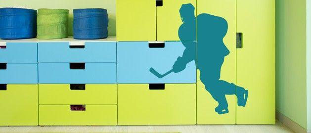 Hokejista C (1417) / Samolepky na zeď, stěnu a nábytek