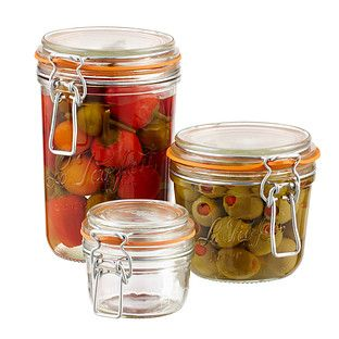 Le Parfait French Hermetic Glass Terrines work well for refrigerator organization.