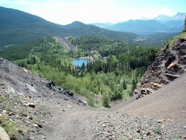 Historical coal mining at Grassy Mountain and the Pod in the  Crowsnest Pass, Alberta, Canada.