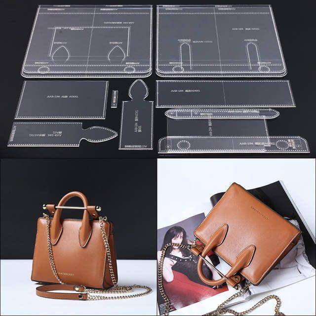 Deri El Yapımı Zanaat kadın askılı omuz çantası Dikiş Desen Akrilik Şablon Şablon Dikiş aksesuarları ile delik 29.5x24x10 cm