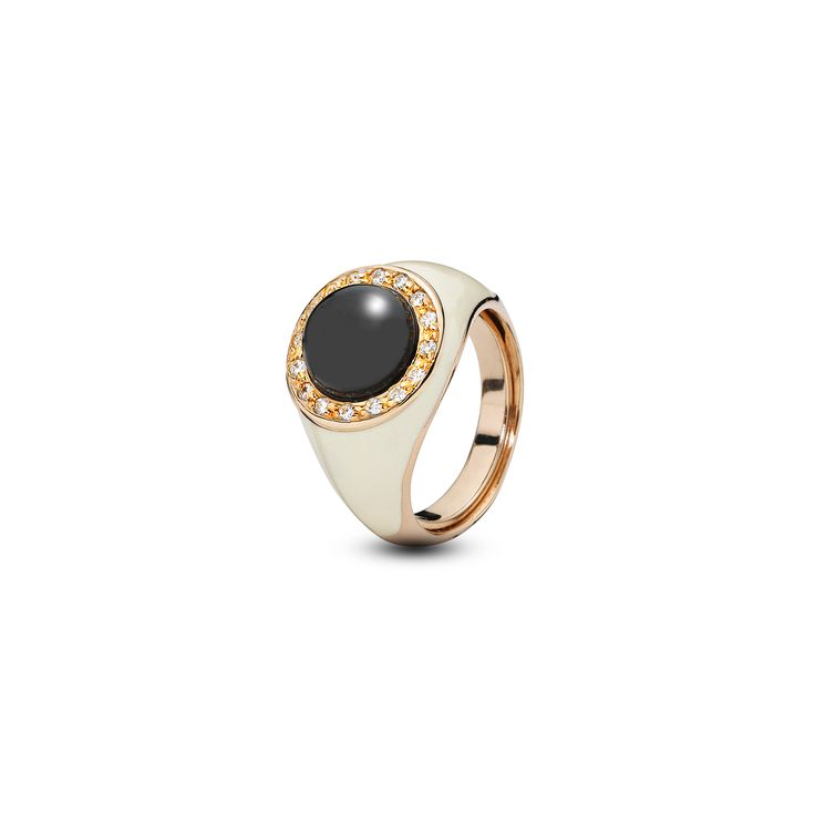 House of Amber - A ring in rose gold sterling silver, zirconia, white enamel, and cherry amber. The Ring has a fascinating design and is a part of the Enlightened Enamel Collection.