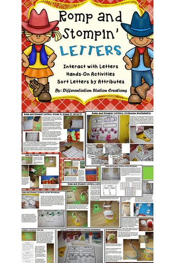Romp and Stompin' Letters! Ready for some rootin' tootin' fun! Hands-on interactive learning activities. Differentiated and great for kinesthetic learners. Little learners love the movement! FUN! 350 pages. Preschool, Kindergarten, Special Education, and Homeschool. $