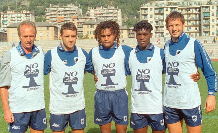 Sven Goran Eriksson, Roberto Mancini, Christian Karembeu, Clarence Seedorf et Sinisa Mihajlovic (Sampdoria Genes)