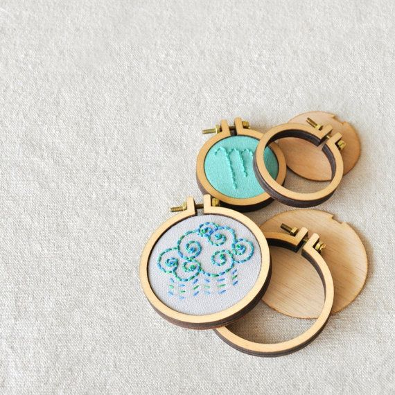 Mini Embroidery Hoops // Small // Jewelry Charm, Dollhouse Minature, Tiny Hoops, Sewing Charm, Embroidery Pendant, Necklace Kit, Brooch
