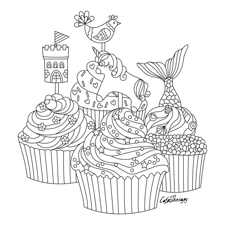 whimsical cupcake coloring pages - photo#34