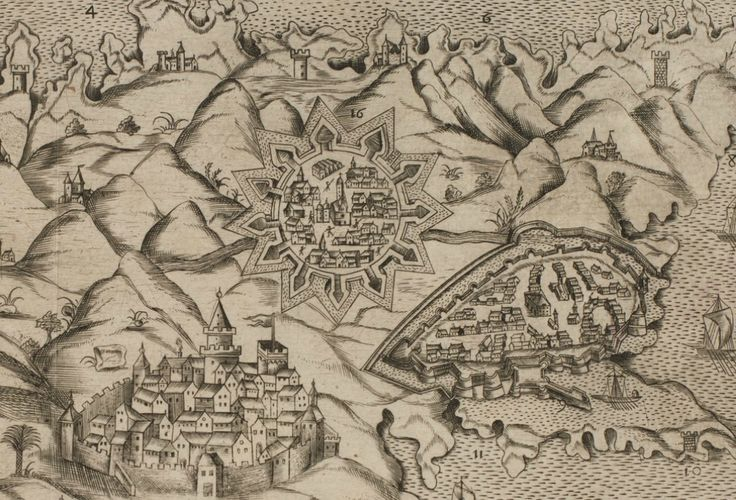Nicosia, Famagusta and Larnaca (?) as depicted on a map of Cyprus dated 1629.