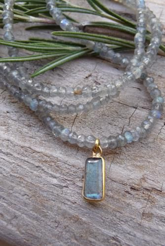Kristin Ford Jewelry with Meaning-strung Labradorite with Rectangle Drop...it has a nice shine!