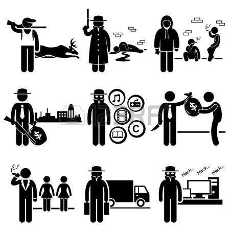Illegal Activity Crime Jobs Occupations Careers - Poachers, Killer, Drug Dealer, Gangster, Piracy, Loan Shark, Pimps, Smuggler, Hacker - Stick Figure Pictogram Vector