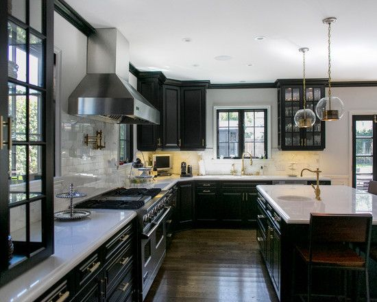 , Transitional Black Kitchen Cabinets With Classic Style Also Classic Elegant Black Kitchen Island With White Countertop Also Glass Ball Pendant Lights Also White Tile Backsplash Also Brown Laminate Floor: Black And White Kitchen Ideas with Black Furniture