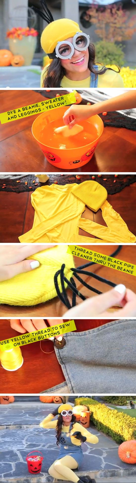 DIY Minion Costume from Dispicable Me | Click Pic for 22 Easy DIY Halloween Costumes for Women 2014 | Last Minute Halloween Costumes for Women