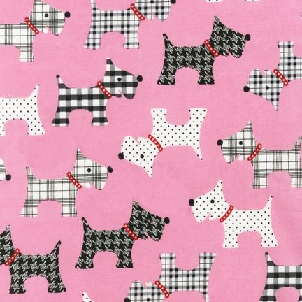 Robert Kaufman Fabrics: AMF-13744-10 PINK by Pink Light Design from Whiskers & Tails