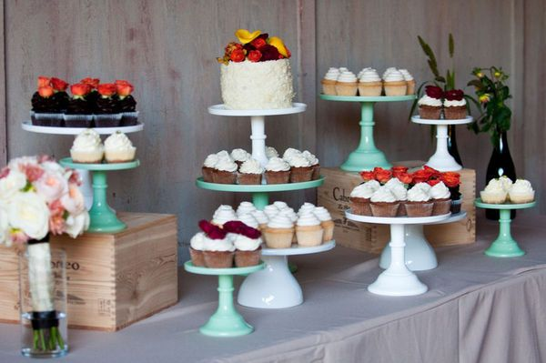 This is 100% what I want our cupcake table to look like. Wine boxes and all.