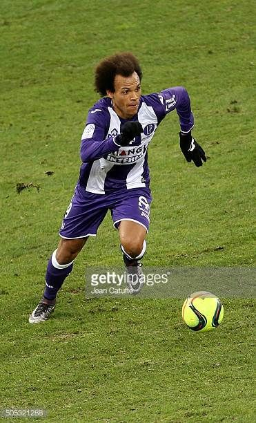 Martin Braithwaite of Toulouse in action during the French League 1 match between Toulouse FC and Paris SaintGermain at Stadium Municipal on January...