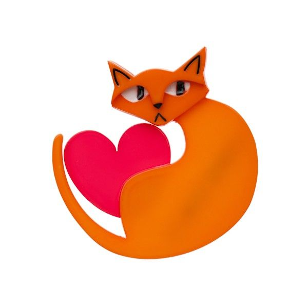 """Limited Edition Linda Love Cat brooch in orange and red. """"Linda the Lover Cat for cat lovers"""""""