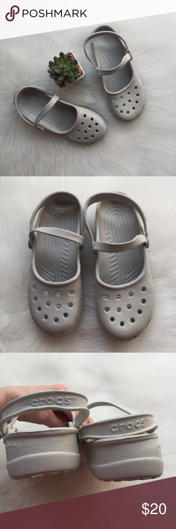 Light Grey White Crocs Light Grey White Crocs. Good condition, only worn a few times and signs of wear are just signs from being stored. Soles are in perfect condition! Bundle & save, offers welcome! CROCS Shoes Mules & Clogs