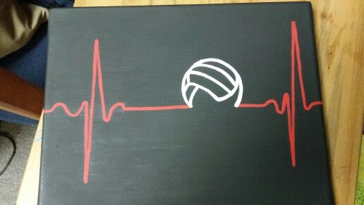 Volleyball heartbeat - canvas painting