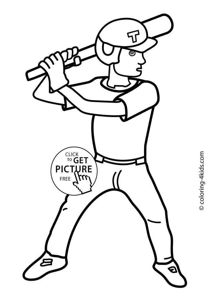 Baseball sport coloring page for kids, printable free