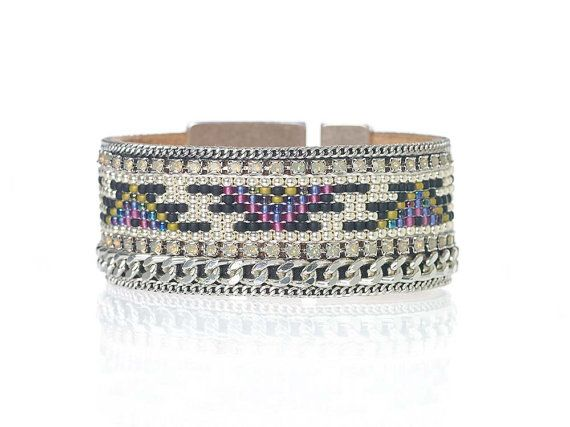 Add some edgy-ness with boho flair to your summer outfit with this loom beaded geometric cuff bracelet with Swarovski crystal details.  Its made with: