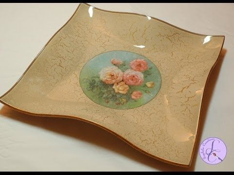 Tutorial: Svuotatasche di vetro con decoupage e cracklè (glass coin tray...