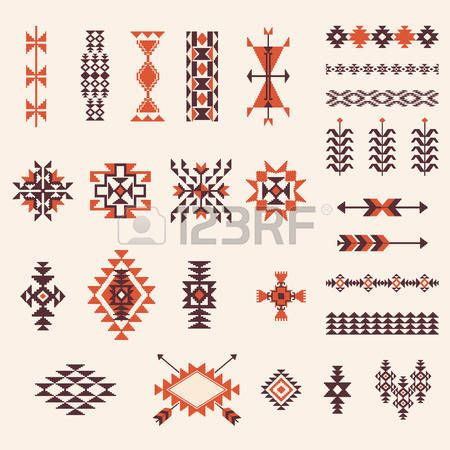 art amÉrindien: Natif américain aztèque elemets vecteur de motif navajo ensemble…