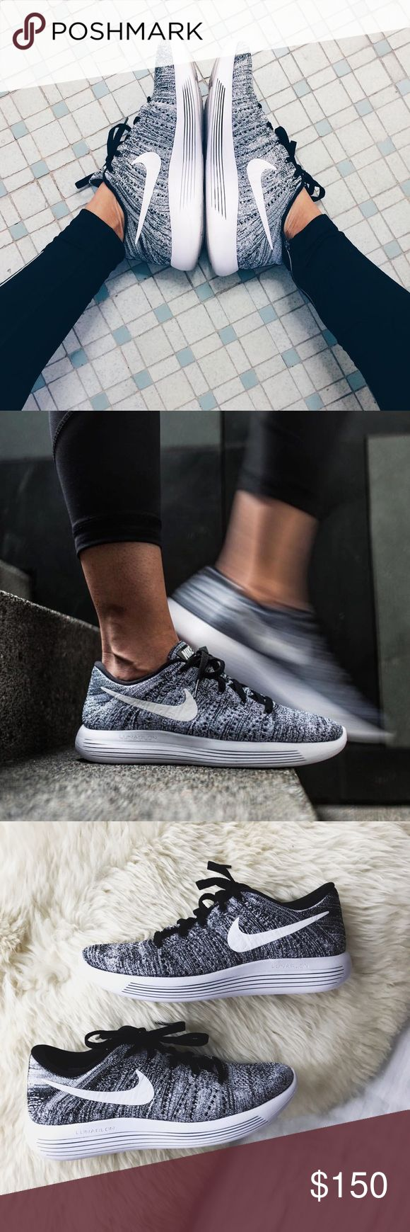 Nike Oreo Flyknit Lunarepic Low Sneakers •The Nike LunarEpic Low Flyknit Women's Running Shoe is lightweight and breathable with targeted cushioning for a soft, effortless sensation underfoot.  •Women's size 7. Would be best for a 6.5 or 7.  •New in box,