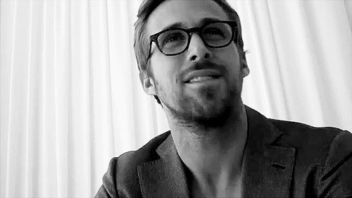 Ryan Gosling. Interview. Glasses. Scruff. Gif.