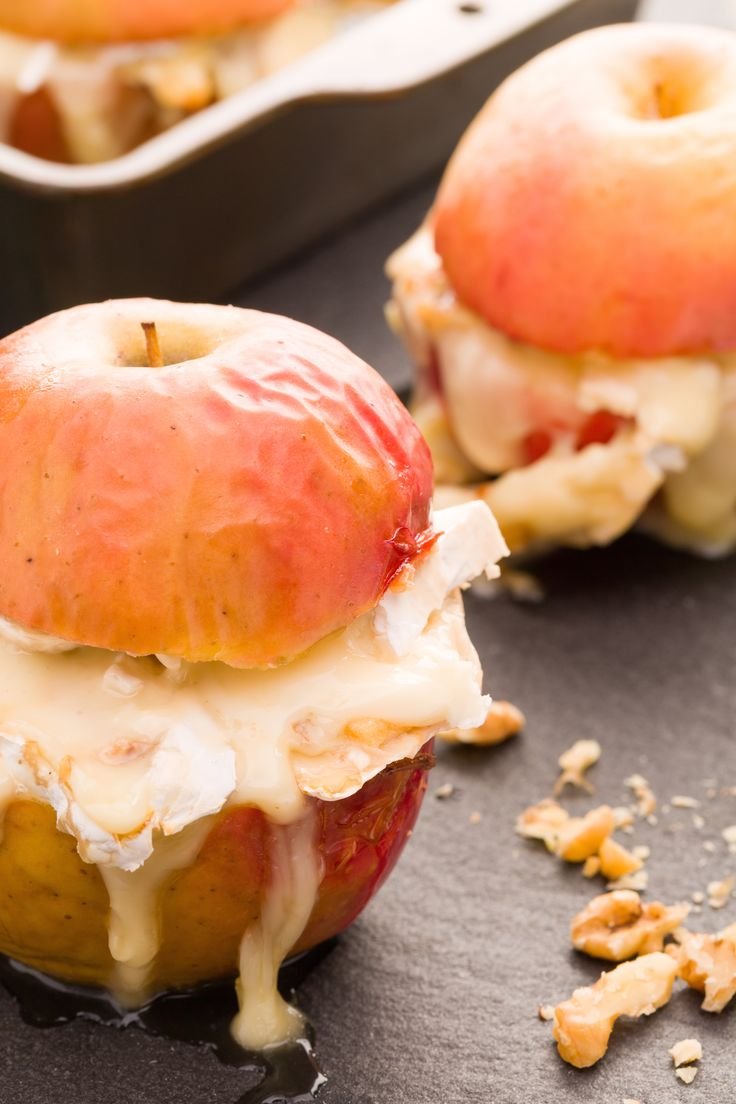Take some of your favorite ingredients from a cheese plate—brie, honey, and apples—and turn them into a baked snack or dessert. Get the recipe from Delish.   - Delish.com