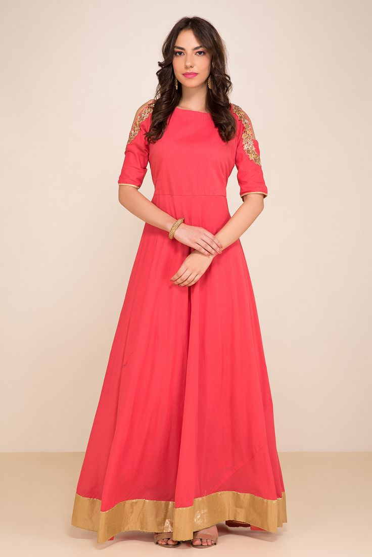 ZAYAH Coral Cold-Shoulder Gown #flyrobe #wedding #weddingoutfit #flyrobeweddings #receptionoutfits #designerwear #designergown #receptiongown