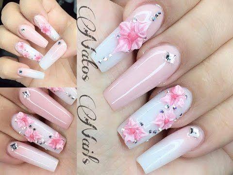 Decoración Uñas Acrílicas efecto Mármol Rosa 3d - Cute Girly Marble Acrylic Nails Design 3d Rose - YouTube