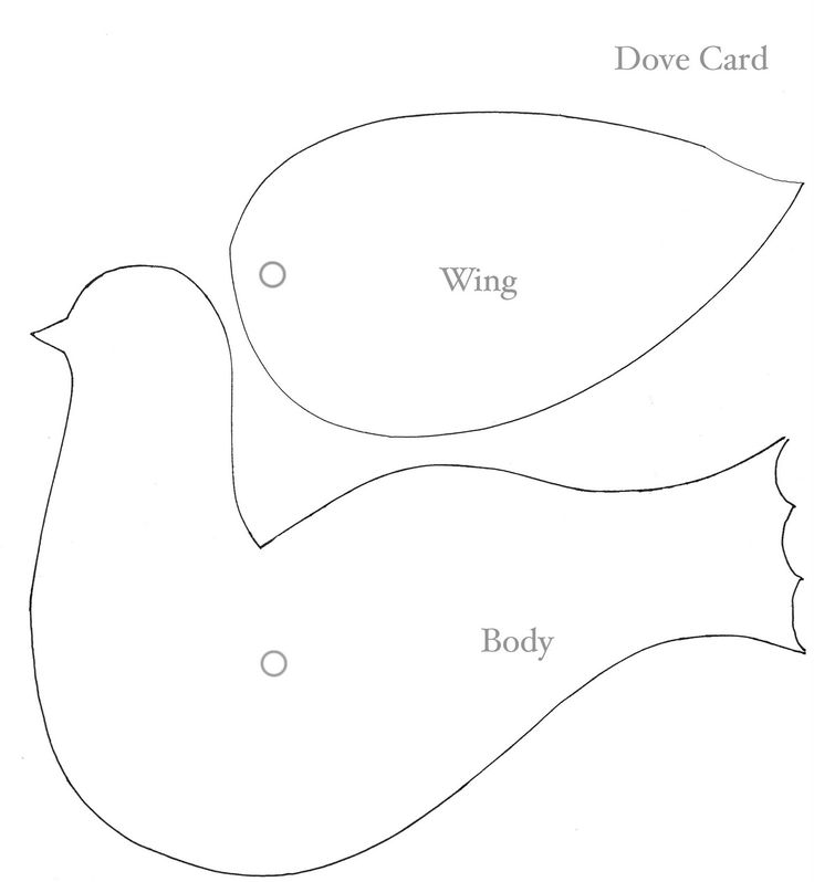 to  doves face attach  wing to  body with  paper fastener