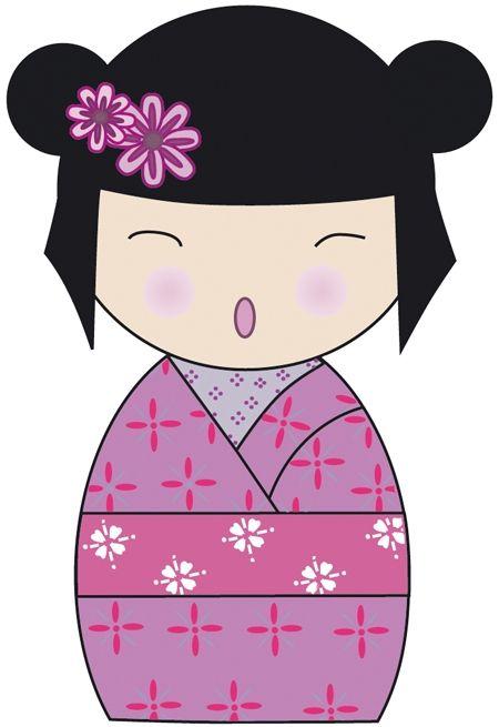 sticker kokeshi violet- 40 cm : Décoration par alexiableu