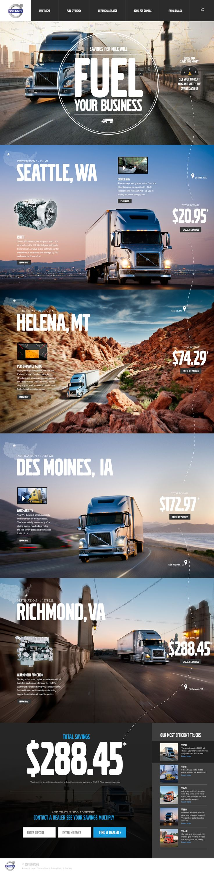 modern web design - Volvo Trucks website Designed by Megan Man