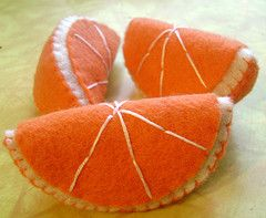 Orange slice pin cushions
