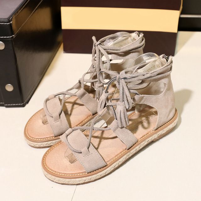 33-42 Summer Shoes Woman Flat Sandals Cow Suede Genuine Leather Lady Gladiator Lace up Beach Cross Strap Flats Women Shoes -- Want to know more, click on the image. #WomensSandals