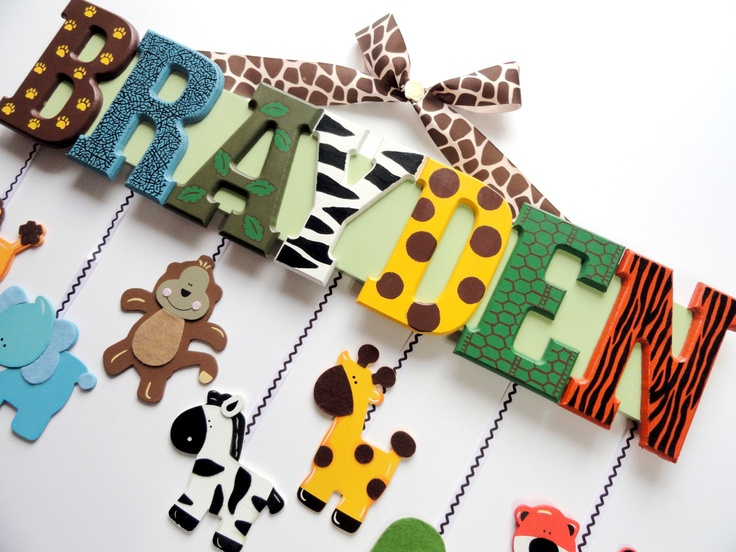 Zoo Animal Name Sign (6 Letters) - Custom Hand Painted Wood Letters on a Personalized Wall Hanging for Nursery or Child's Bedroom. Etsy.