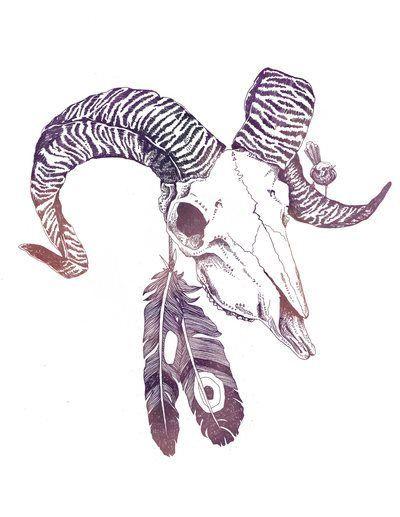 Ram Skull Art Illustration Feathers Dark picture