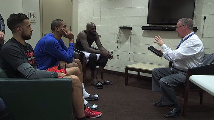 Pastor John Love held an impromptu chapel session with Toronto Raptors player Landry Fields, and New York Knicks' Lance Thomas and Quincy Acy on Saturday. He is the chaplain hired by the New York Knicks who holds pregame chapel sessions.